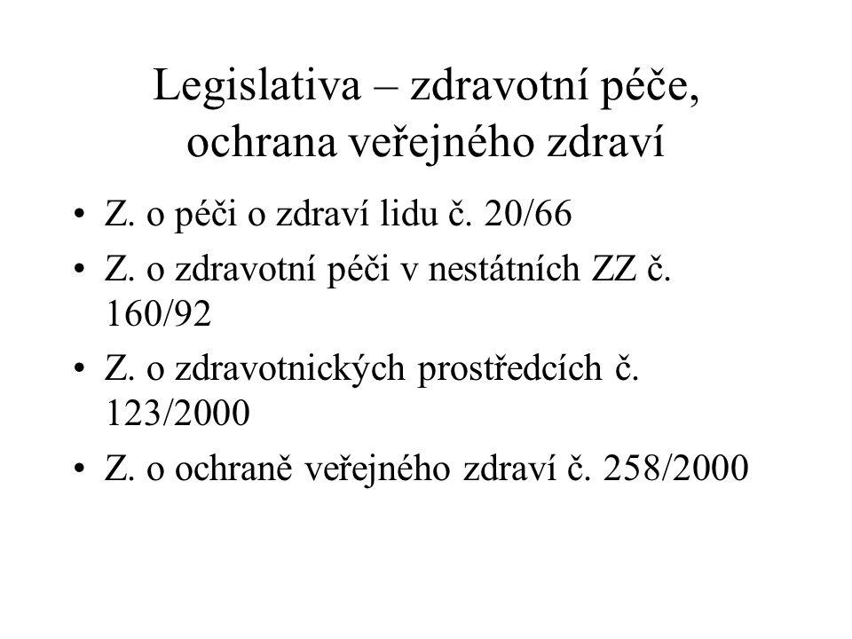 Legislativa – zdravotní péče, ochrana veřejného zdraví