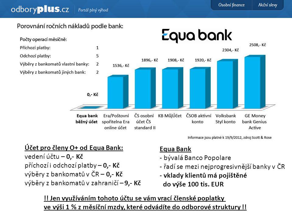 Účet pro členy O+ od Equa Bank: