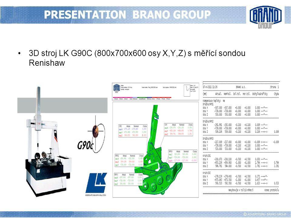3D stroj LK G90C (800x700x600 osy X,Y,Z) s měřící sondou Renishaw