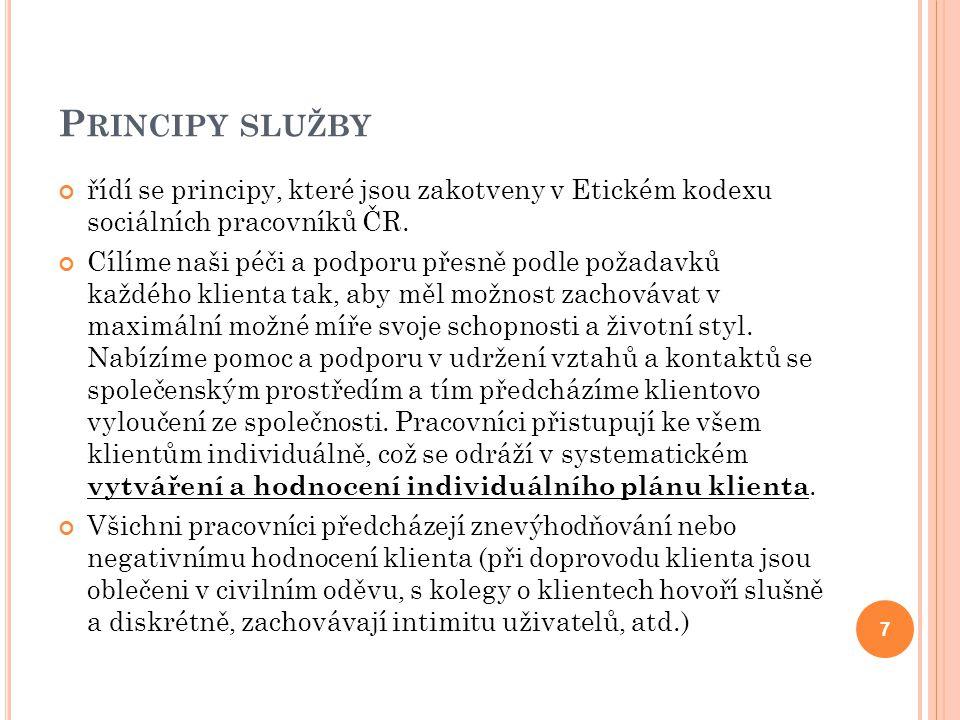 Principy služby řídí se principy, které jsou zakotveny v Etickém kodexu sociálních pracovníků ČR.