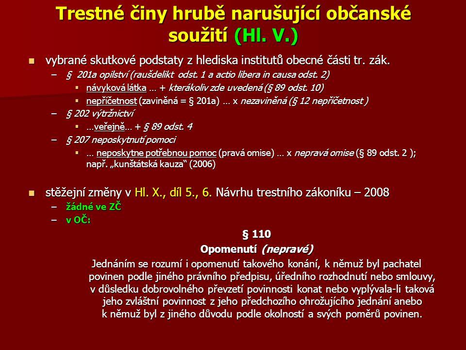 Trestné činy hrubě narušující občanské soužití (Hl. V.)