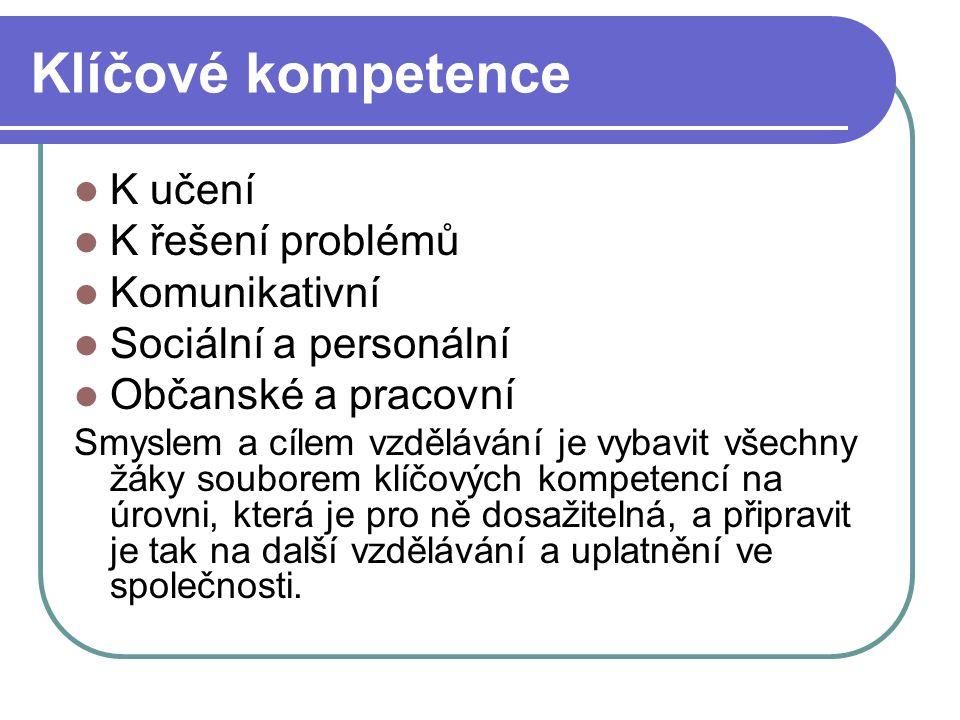 Klíčové kompetence K učení K řešení problémů Komunikativní