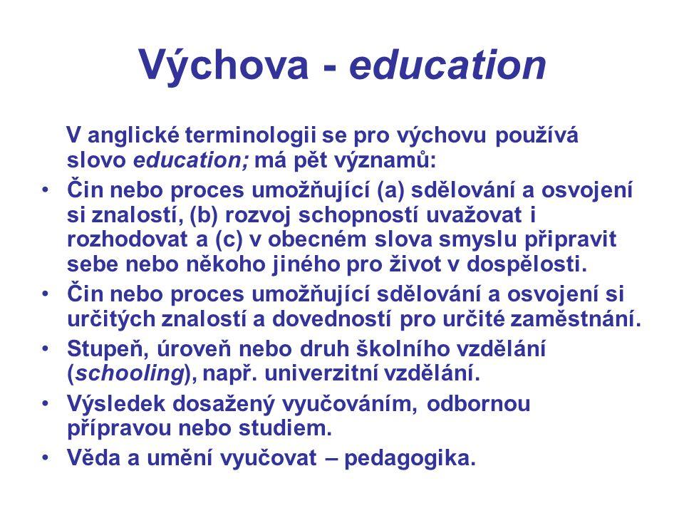 Výchova - education V anglické terminologii se pro výchovu používá slovo education; má pět významů: