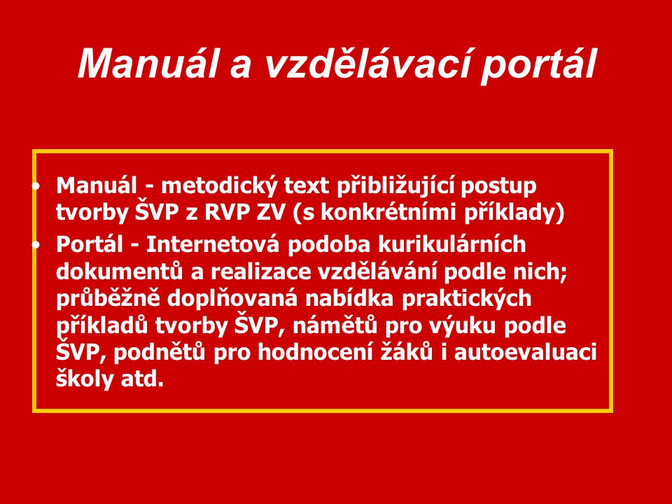 Manuál a vzdělávací portál