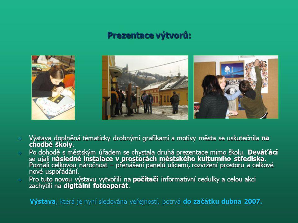 Prezentace výtvorů: Výstava doplněná tématicky drobnými grafikami a motivy města se uskutečnila na chodbě školy.