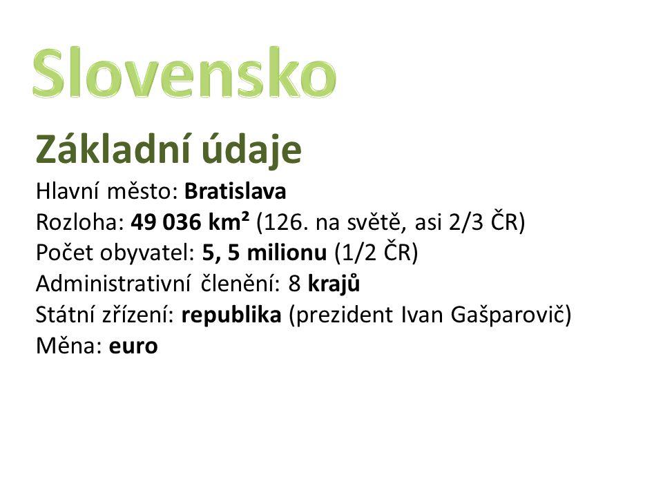 Slovensko Základní údaje Hlavní město: Bratislava