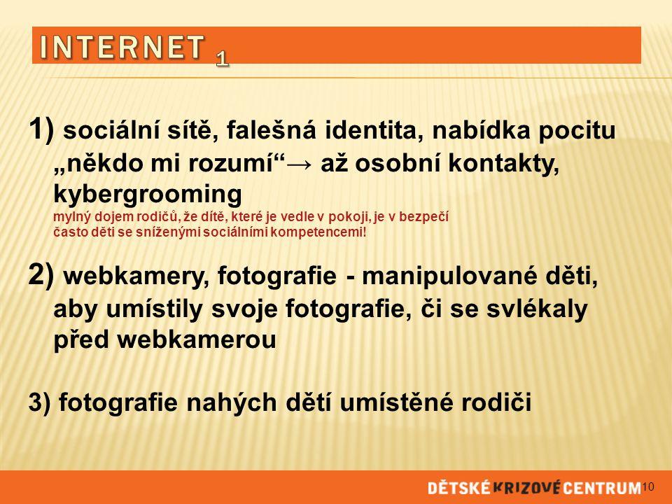 """INTERNET 1 1) sociální sítě, falešná identita, nabídka pocitu """"někdo mi rozumí → až osobní kontakty, kybergrooming."""
