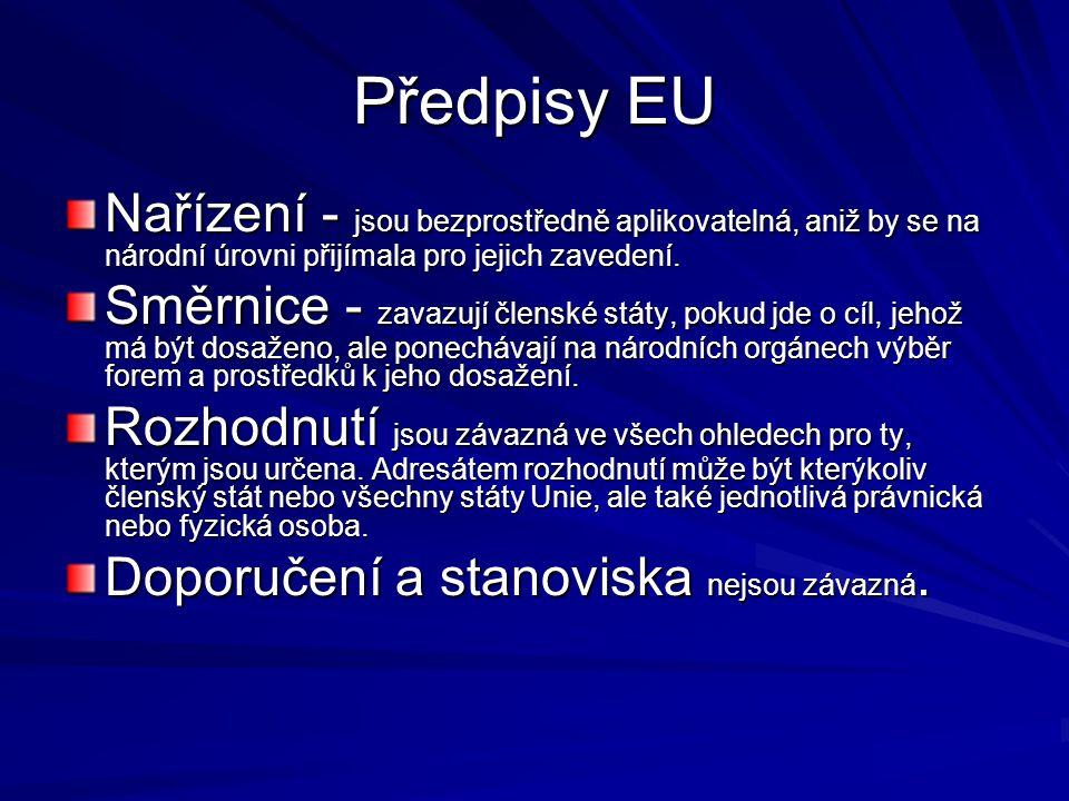 Předpisy EU Nařízení - jsou bezprostředně aplikovatelná, aniž by se na národní úrovni přijímala pro jejich zavedení.