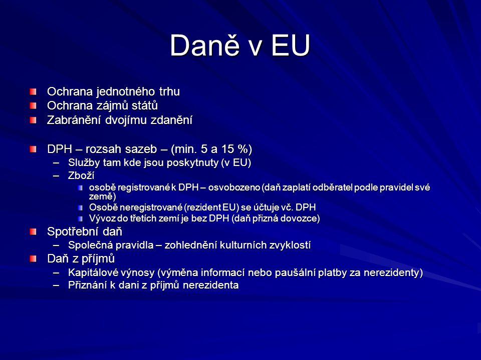 Daně v EU Ochrana jednotného trhu Ochrana zájmů států