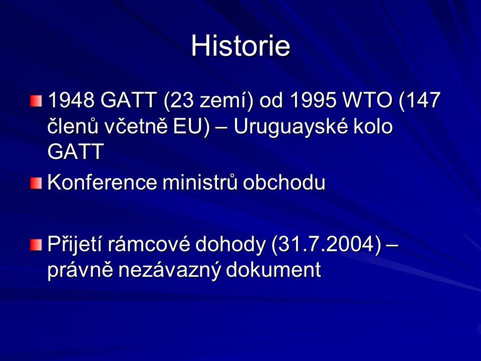 Historie 1948 GATT (23 zemí) od 1995 WTO (147 členů včetně EU) – Uruguayské kolo GATT. Konference ministrů obchodu.