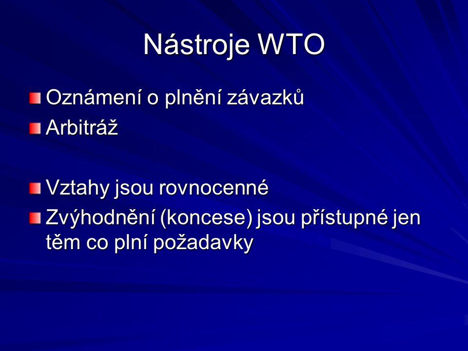 Nástroje WTO Oznámení o plnění závazků Arbitráž Vztahy jsou rovnocenné