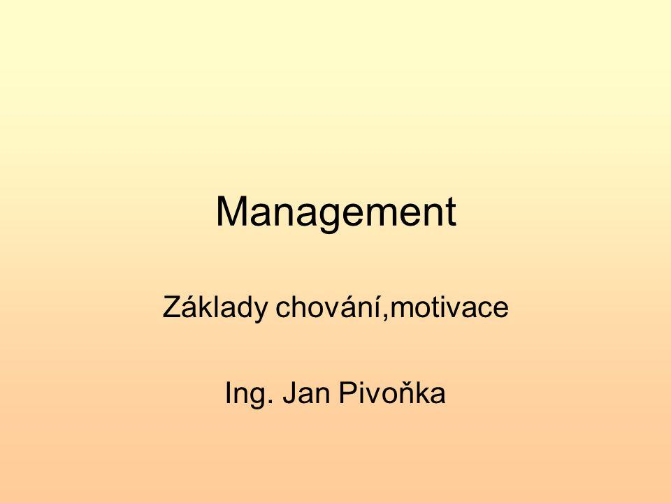 Základy chování,motivace Ing. Jan Pivoňka