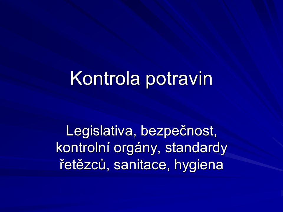 Kontrola potravin Legislativa, bezpečnost, kontrolní orgány, standardy řetězců, sanitace, hygiena