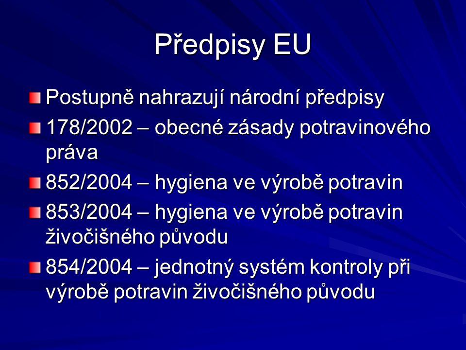Předpisy EU Postupně nahrazují národní předpisy