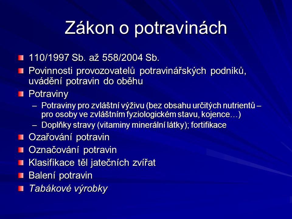 Zákon o potravinách 110/1997 Sb. až 558/2004 Sb.