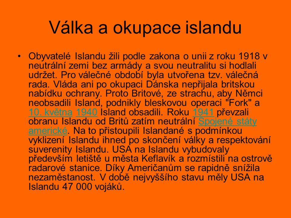Válka a okupace islandu