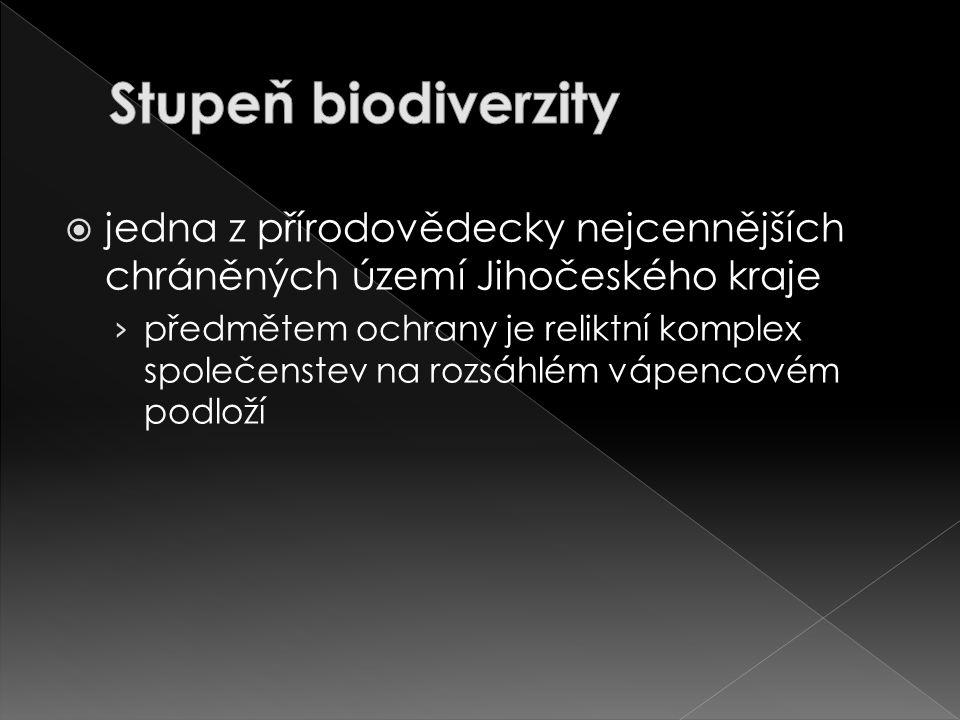 Stupeň biodiverzity jedna z přírodovědecky nejcennějších chráněných území Jihočeského kraje.