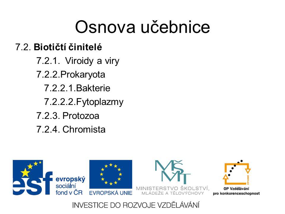 Osnova učebnice 7.2. Biotičtí činitelé 7.2.1. Viroidy a viry