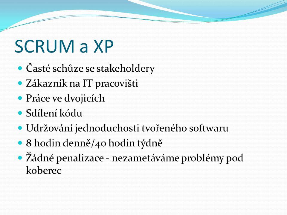 SCRUM a XP Časté schůze se stakeholdery Zákazník na IT pracovišti