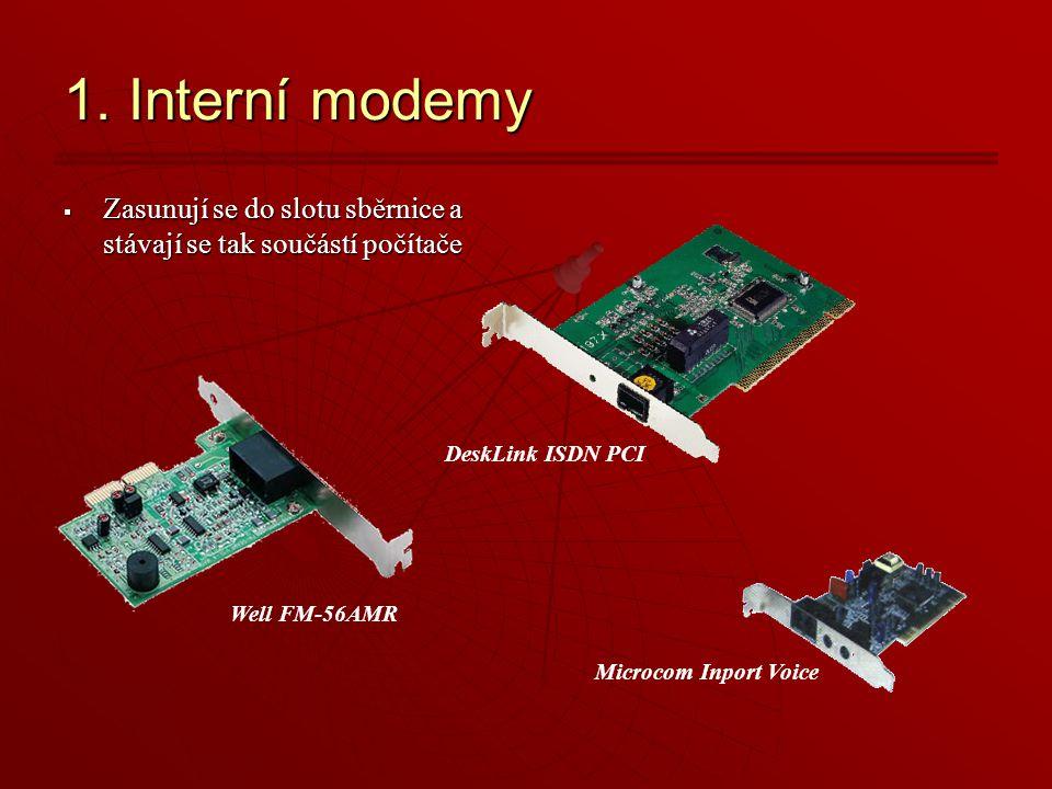 1. Interní modemy Zasunují se do slotu sběrnice a stávají se tak součástí počítače. DeskLink ISDN PCI.