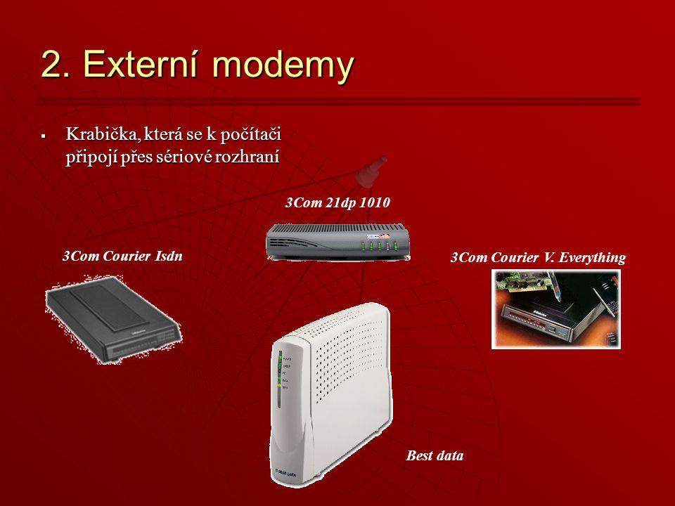 2. Externí modemy Krabička, která se k počítači připojí přes sériové rozhraní. 3Com 21dp 1010. 3Com Courier Isdn.
