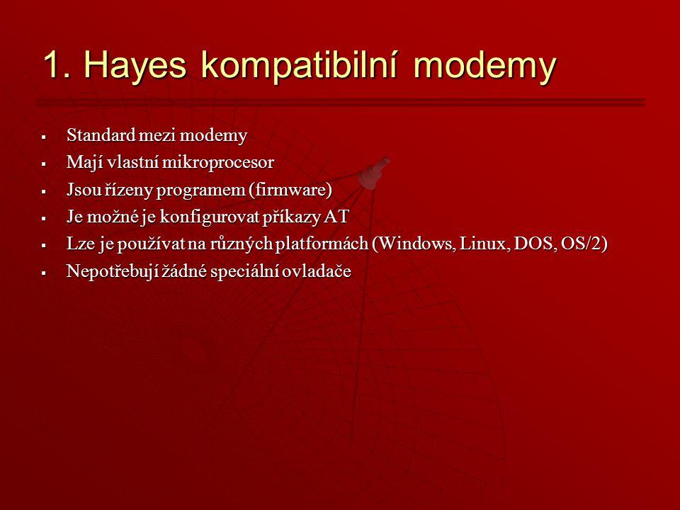 1. Hayes kompatibilní modemy
