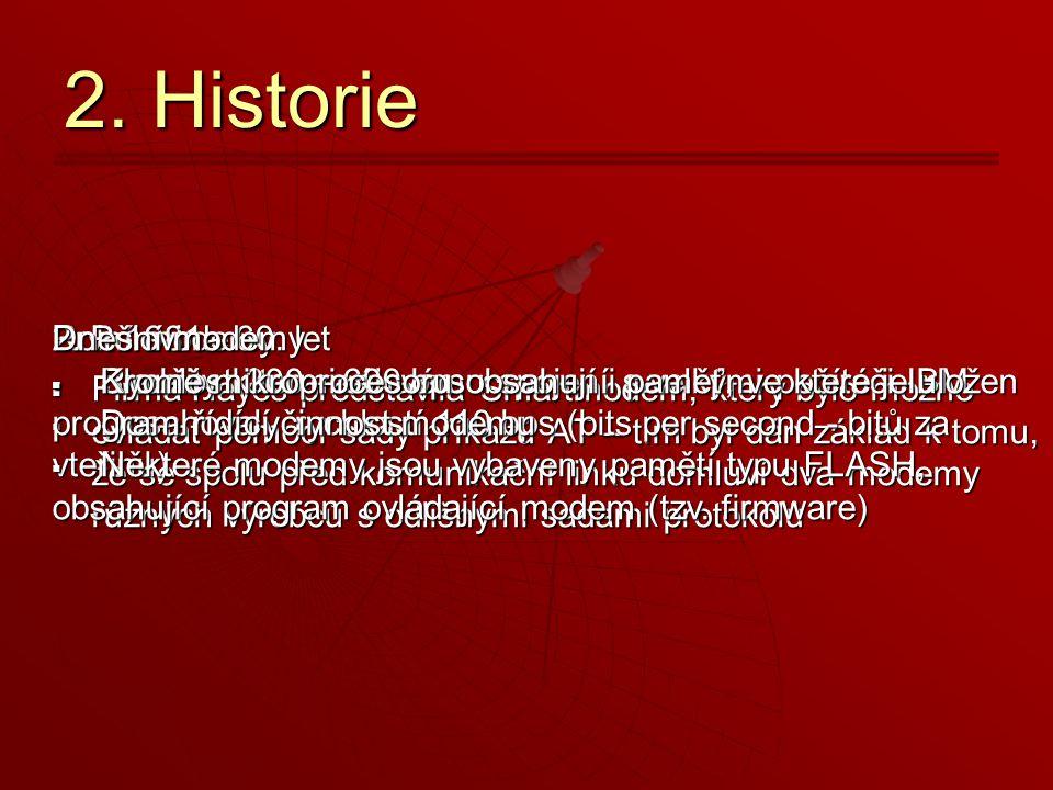 2. Historie Dnešní modemy