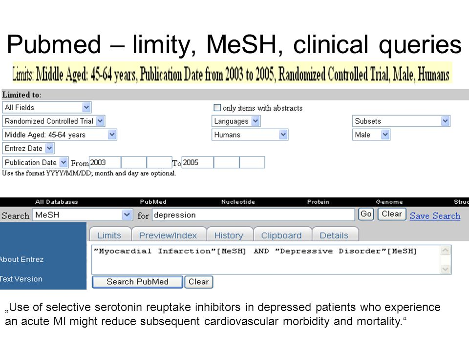 Pubmed – limity, MeSH, clinical queries