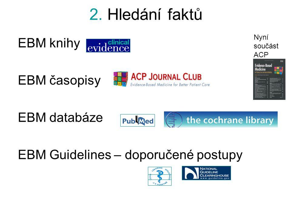 2. Hledání faktů EBM knihy EBM časopisy EBM databáze
