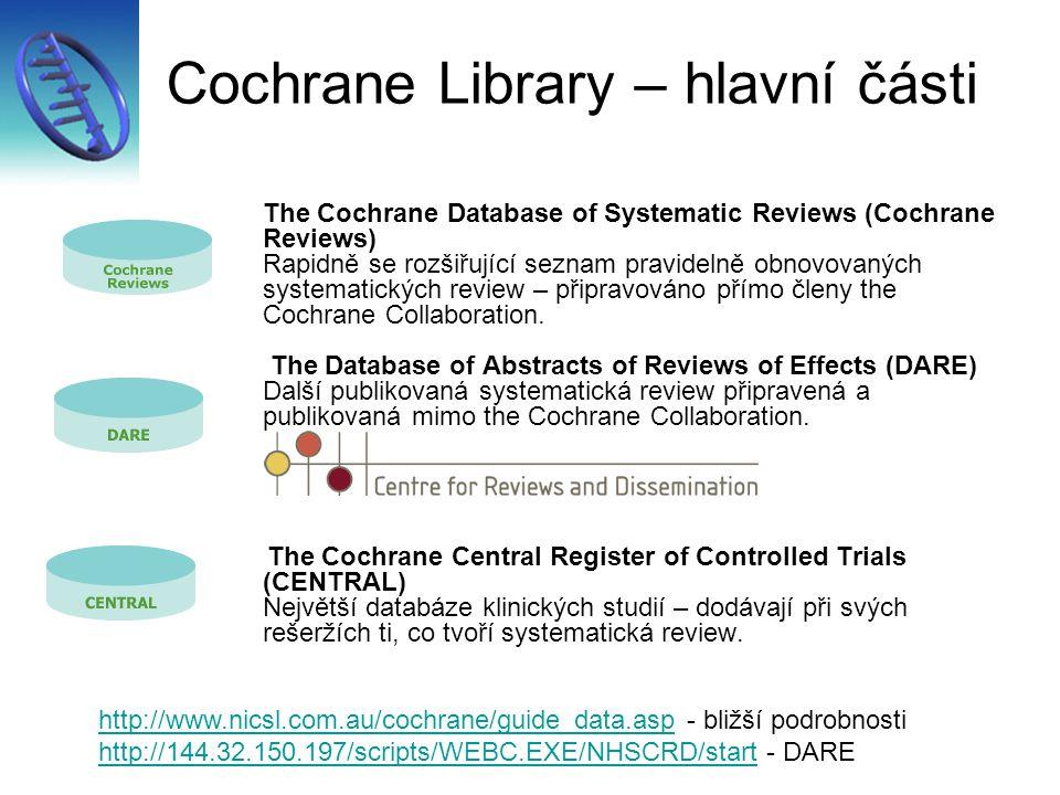 Cochrane Library – hlavní části
