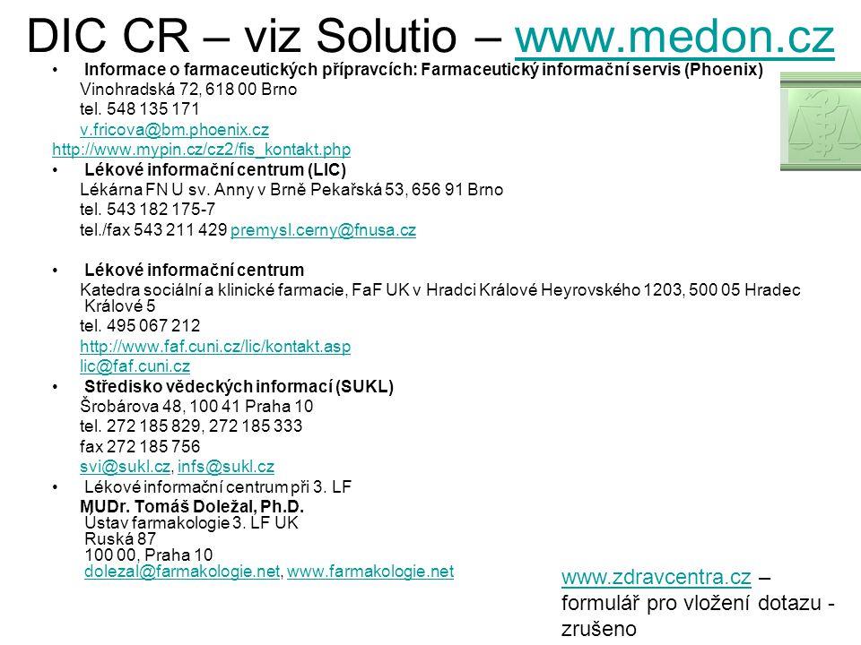 DIC CR – viz Solutio – www.medon.cz