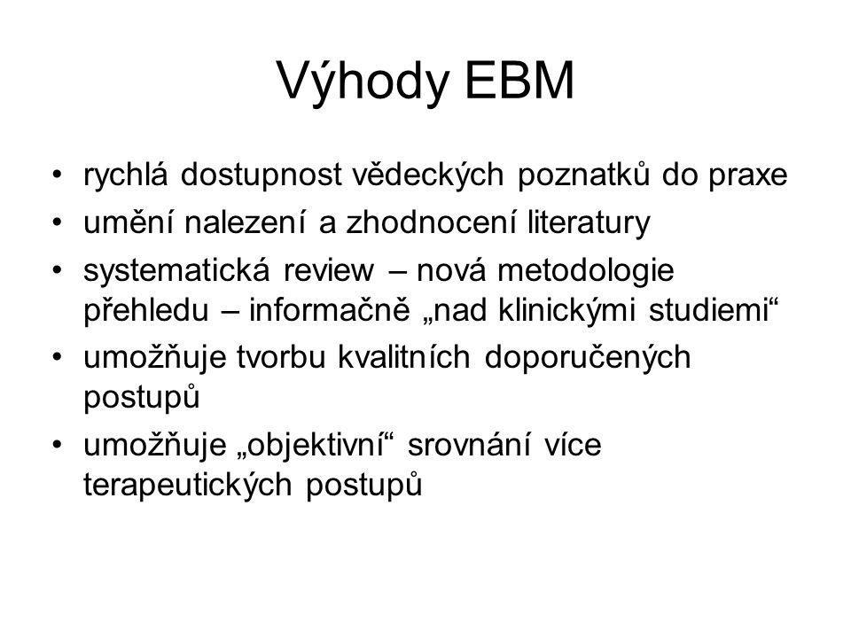 Výhody EBM rychlá dostupnost vědeckých poznatků do praxe