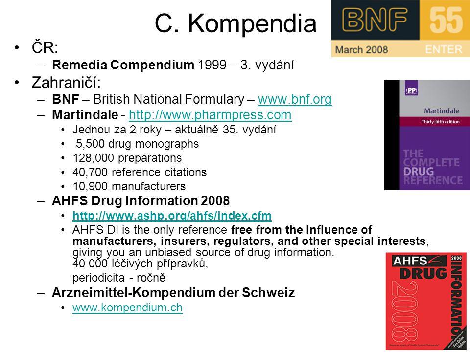 C. Kompendia ČR: Zahraničí: Remedia Compendium 1999 – 3. vydání