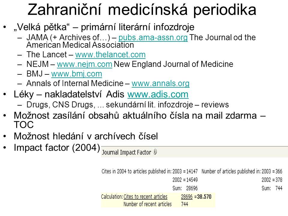 Zahraniční medicínská periodika