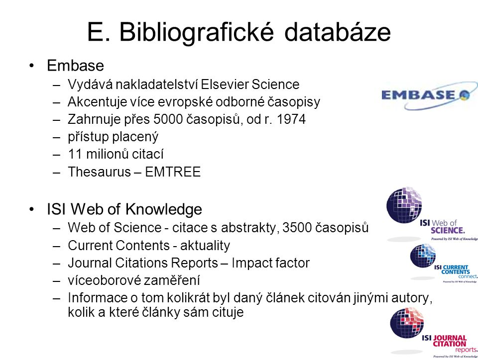 E. Bibliografické databáze