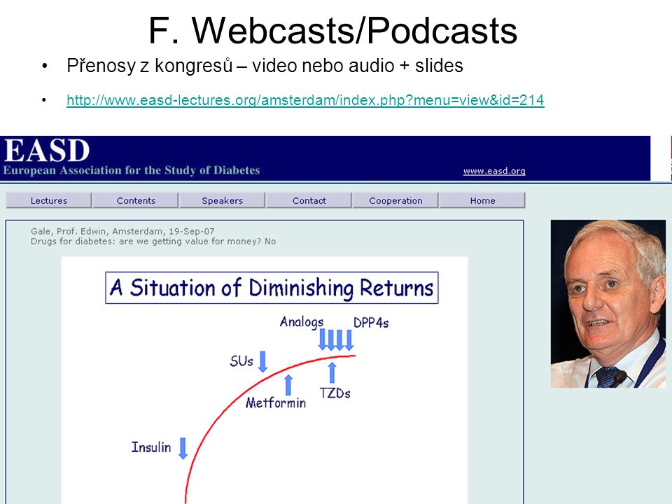 F. Webcasts/Podcasts Přenosy z kongresů – video nebo audio + slides