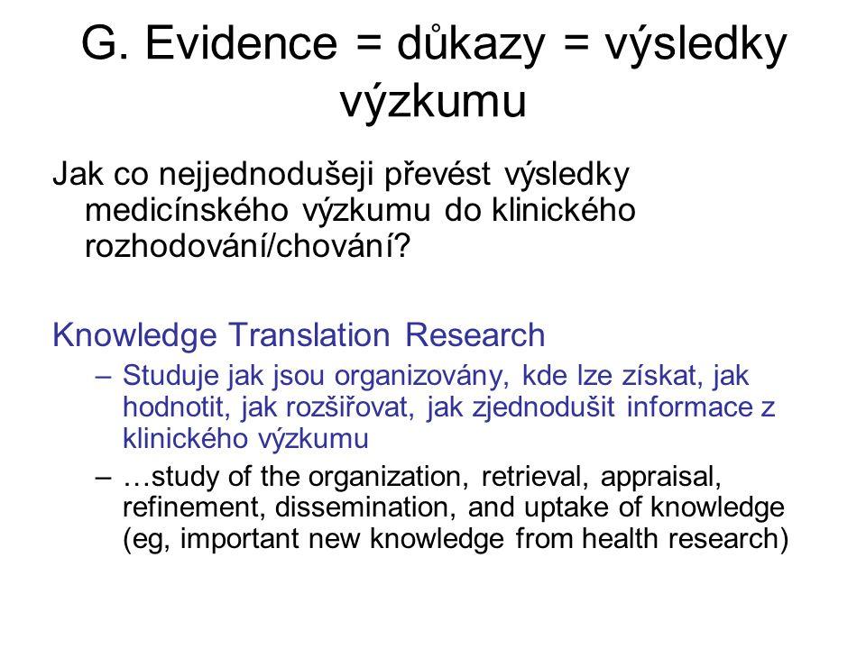 G. Evidence = důkazy = výsledky výzkumu