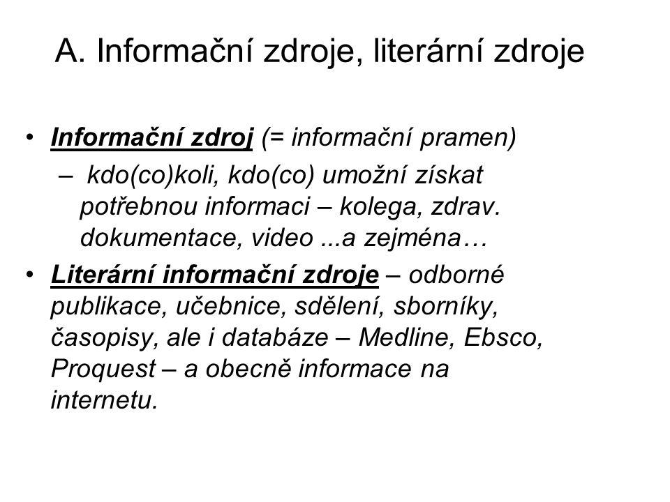 A. Informační zdroje, literární zdroje