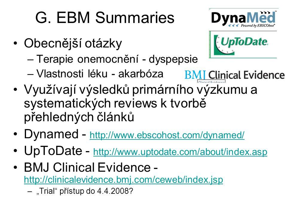 G. EBM Summaries Obecnější otázky