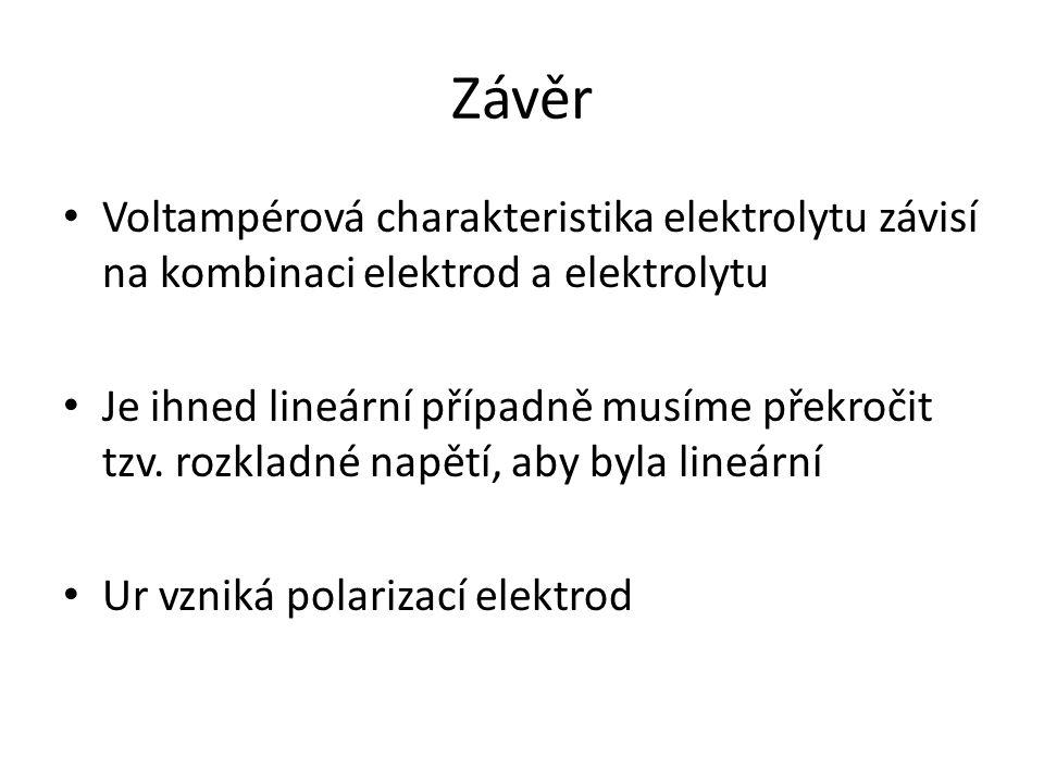 Závěr Voltampérová charakteristika elektrolytu závisí na kombinaci elektrod a elektrolytu.