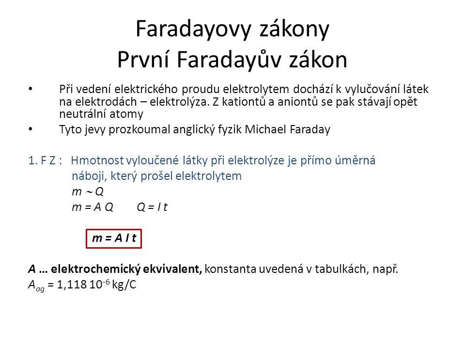 Faradayovy zákony První Faradayův zákon