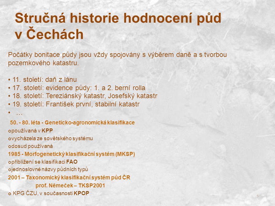 Stručná historie hodnocení půd v Čechách