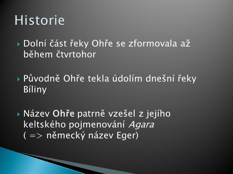 Historie Dolní část řeky Ohře se zformovala až během čtvrtohor