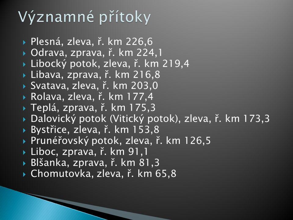 Významné přítoky Plesná, zleva, ř. km 226,6