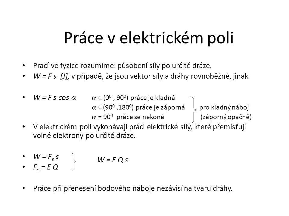 Práce v elektrickém poli