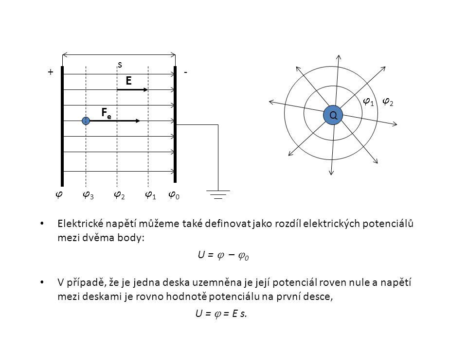 s + - E. 1. 2. Fe. Q.  3. 2. 1. 0. Elektrické napětí můžeme také definovat jako rozdíl elektrických potenciálů mezi dvěma body: