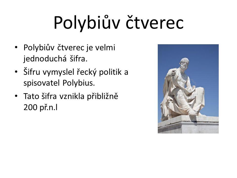 Polybiův čtverec Polybiův čtverec je velmi jednoduchá šifra.