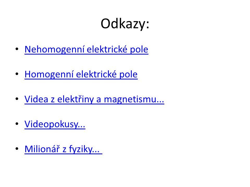 Odkazy: Nehomogenní elektrické pole Homogenní elektrické pole