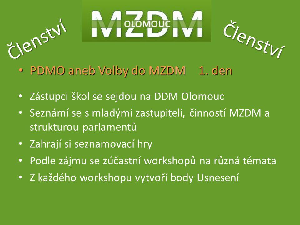 Členství Členství PDMO aneb Volby do MZDM 1. den