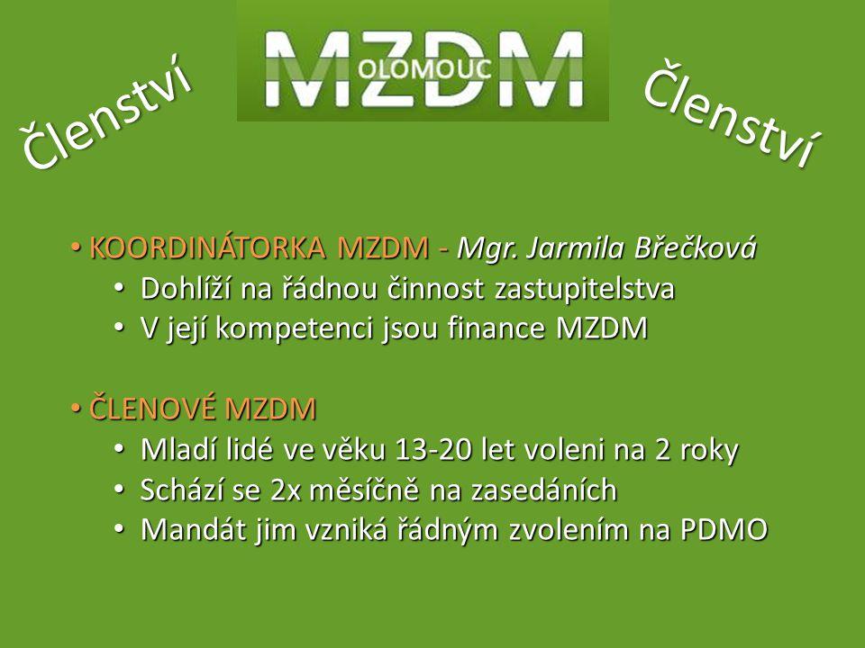 Členství Členství KOORDINÁTORKA MZDM - Mgr. Jarmila Břečková